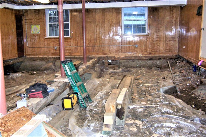 The old floor joists have been removed.