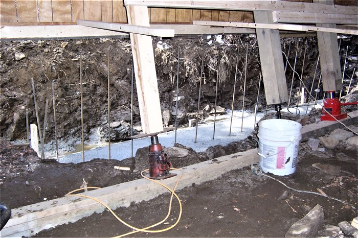 Inside view of cement footings.